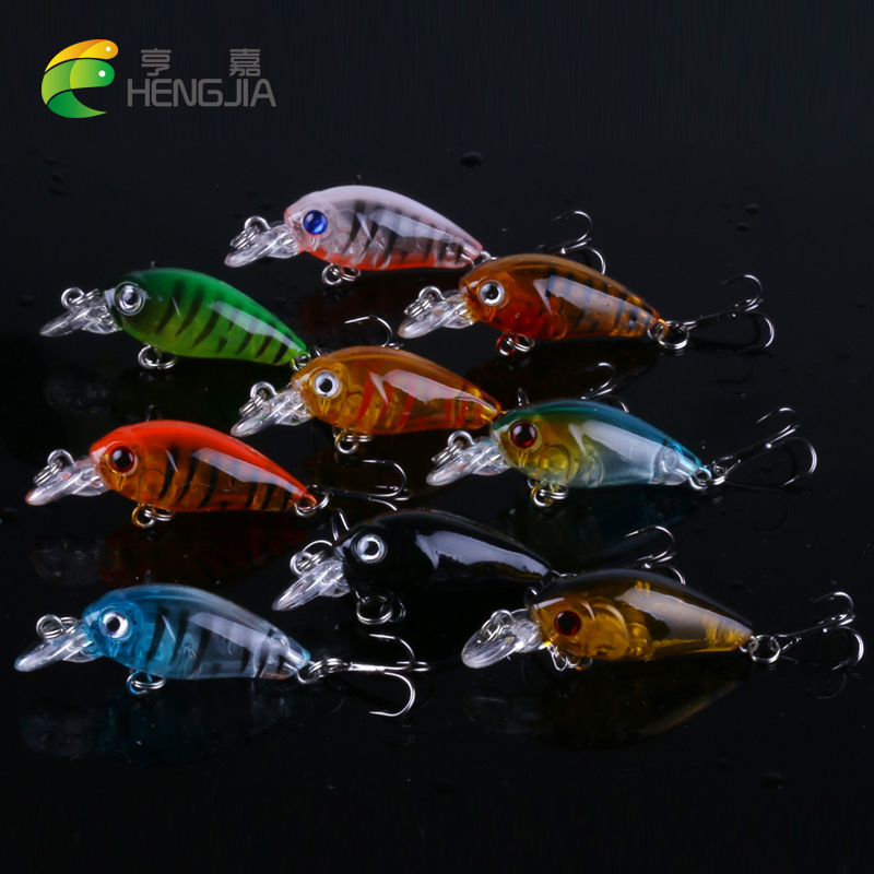 9pcs HENGJIA 4g 4.5cm Mini Crankbait floating Fishing lure Crank Fake Bait isca artificial carp fishing Wobblers pro jewelry floating mini charms for floating locket