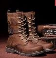 Мужская Осень Западная Натуральная Кожа Мужской Обуви Любителей Обувь Рабочая Обувь Мартин Сапоги Мода Армейские Ботинки Высокого Верха Обуви H5673