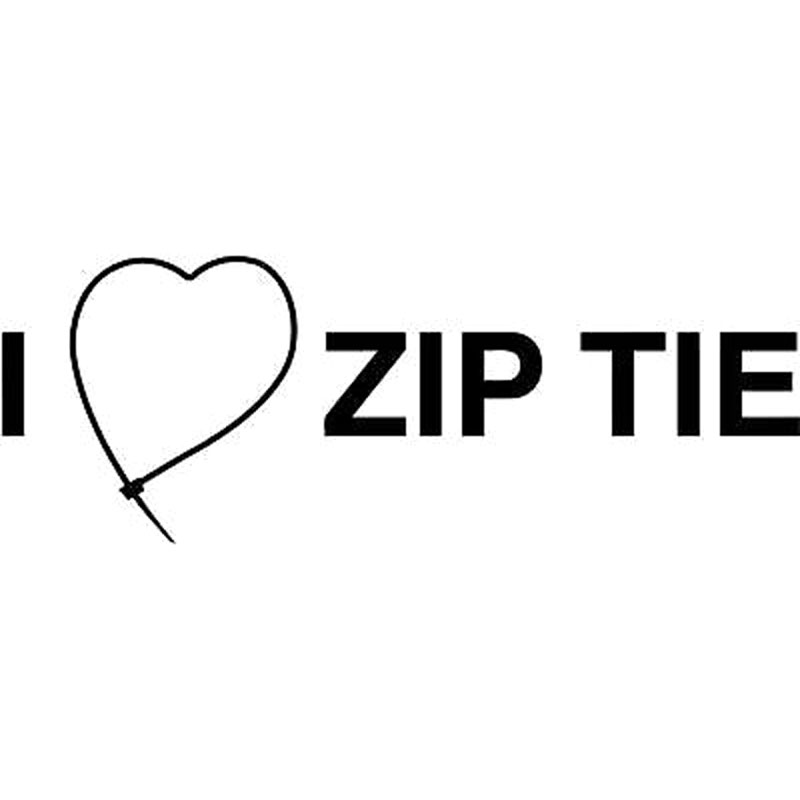 15.5X5.7CM I LOVE ZIP TIE Loving Car-styling Vinyl Decal Car Sticker Black/Silver S8-0413