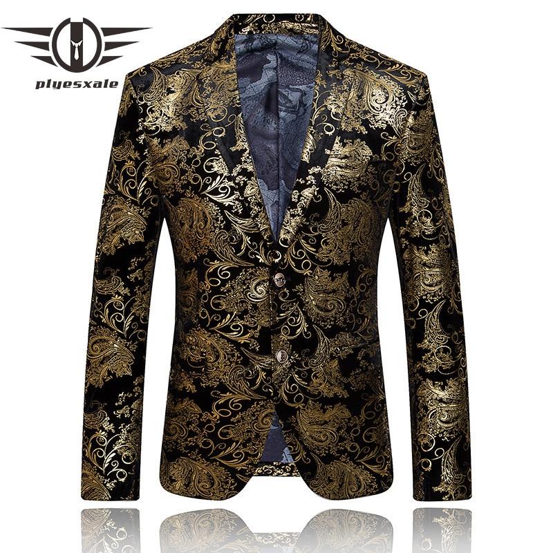 Plyesxale Gold Blazer For Men për burra të markave luksoze Kostume - Veshje për meshkuj
