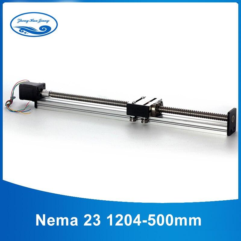 Rail de guidage linéaire 12mm 1204 vis à billes guide linéaire rails linéaires CNC course efficace 500mm + 23 moteur pas à pas nema