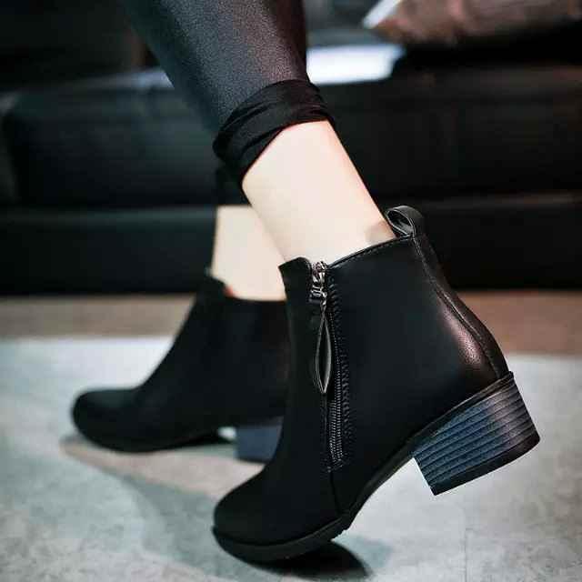 New thời trang đen andred Mùa Thu Mùa Đông Phụ Nữ Khởi Động Da Lộn Nữ Phía Dây Kéo Giày Thời Trang Cổ Điển Khởi Động Mắt Cá Chân
