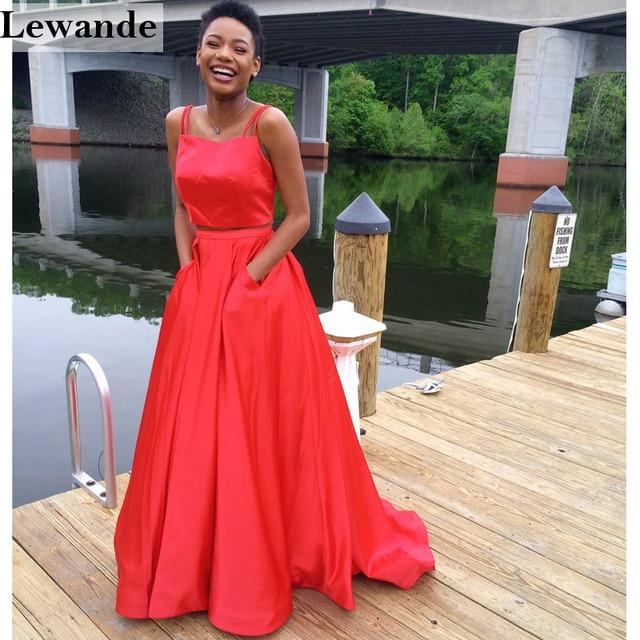 Lewande Spaghetti Straps Satin 2 Piece Prom Dress 50295 Two Pc A