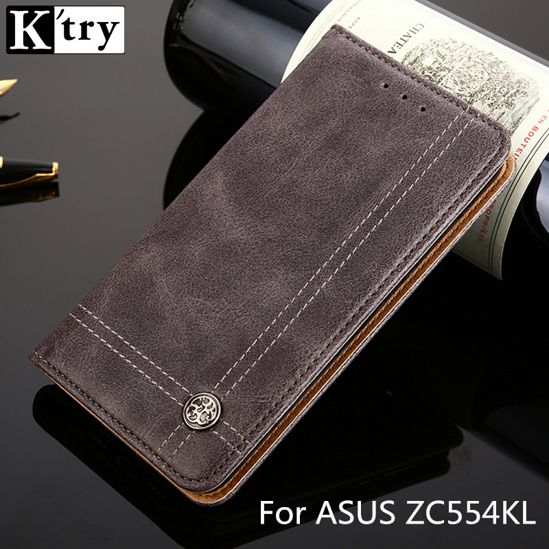 K'TRY Flip Wallet PU Leather Case For ASUS Zenfone 4 Max ZC554KL Cover Card Slot Phone Cases For ASUS ZC554KL with Kickstand