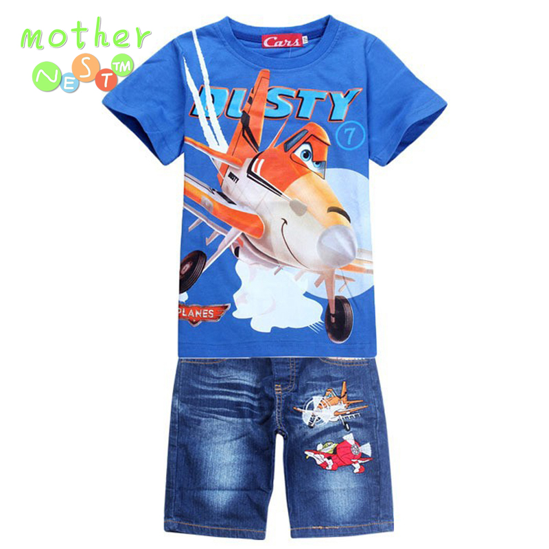 New 2017 Retail Children Set Cartoon DUSTY PLANE fashion suit boys jeans sets t-shirt+pant 2pcs Kids Summer Clothing 2017 new fashion kids clothes off shoulder camo crop tops hole jean denim pant 2pcs outfit summer suit children clothing set