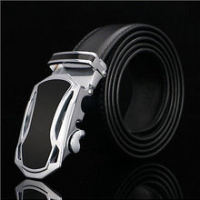 Business Men's Genuine Leather Strap Black Waistband Automatic Buckle New Belt C