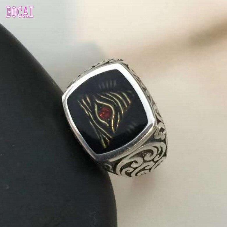925 чистый тайское серебро God's Eye человека кольцо Мода вырезка комплект с натуральным цветной камни