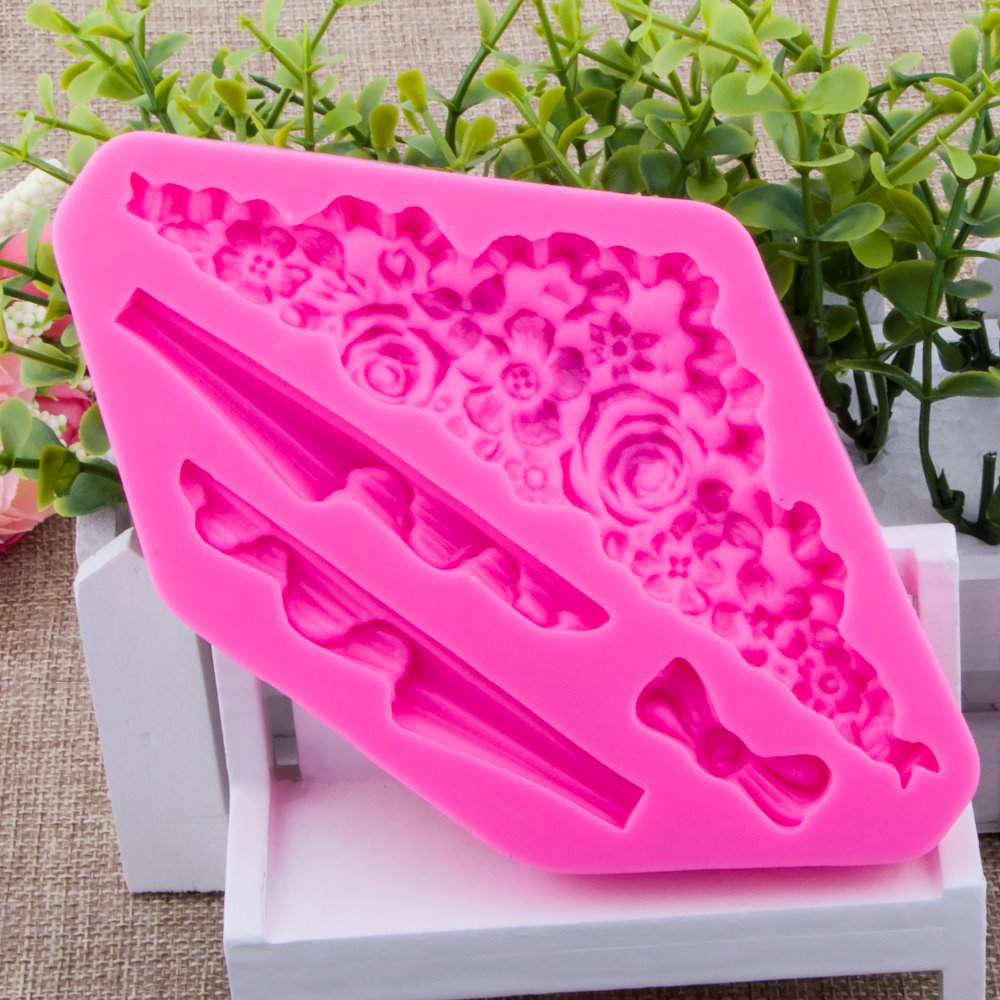Photo frame lace Fondant cake silicone mould Kitchen for pastry candy Gum paste Chocolate Trim molding removal tool set FT-0934