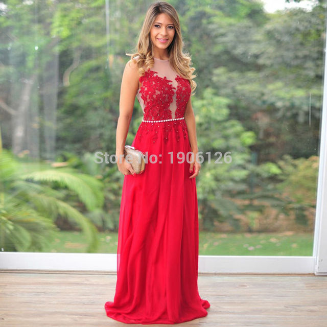 Us 1520 Vestidos Longos Para Formatura 2016 Red Long Fast Delivery Prom Dresses Lace Evening Gowns Pearls Blusas De Festa Chiffon In Prom Dresses