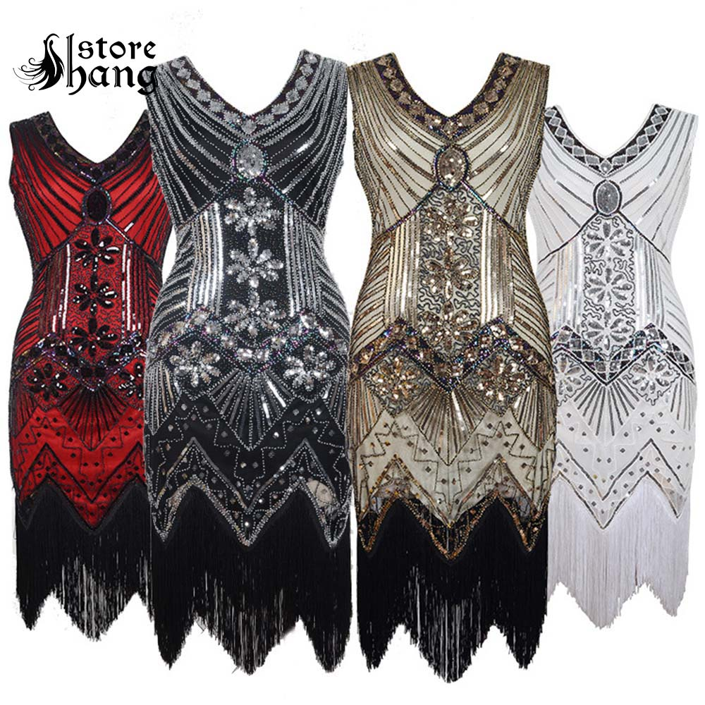 Women/'s 1920s Vintage Flapper Fringe Sequins Beaded Great Gatsby Party Dress