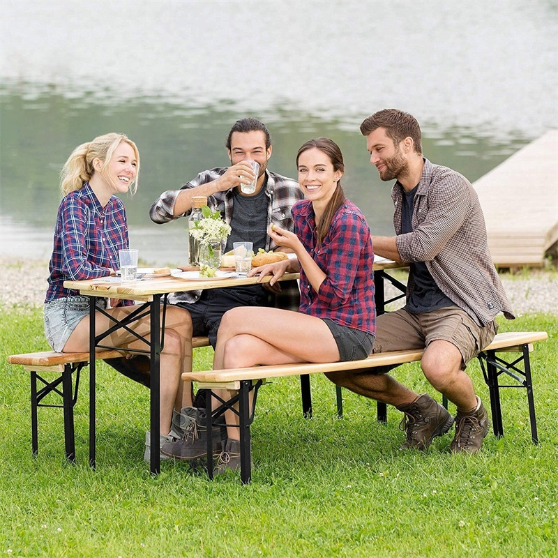 3 piece Folding Wooden Picnic Table Bench Set Iron and Chinese Fir Wood Outdoor Table and Bench Set