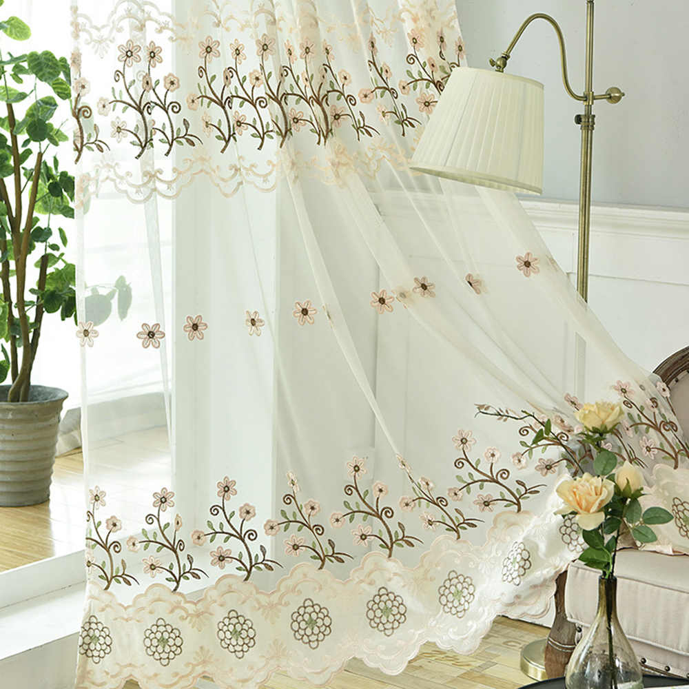Luxury Modern Living Room Curtain Tulle Pink Floral Embroidered Sheer Curtain Panels for Girls Room Window Voile Curtain TM0233
