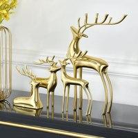 Pure handmade Fine copper elk Handcrafted deer Purely manual ornament Luxurious desk decoration Creative copper Home decor