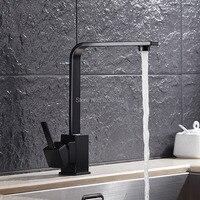 Black Kitchen Faucet Square Design 360 Degree Rotation Single Handle Kitchen Faucet B3277