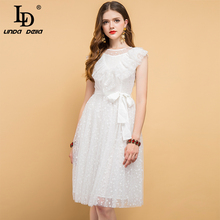 LD LINDA DELLA Summer Fashion Designer Dress Women's Bow Tie  Ruffles Embroidery Mesh Overlay Elegant Vacation White Dresses girls embroidered mesh overlay bow tie back ball gown