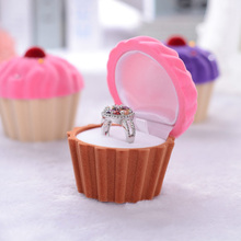 Velvet Cupcake Shaped Ring Box