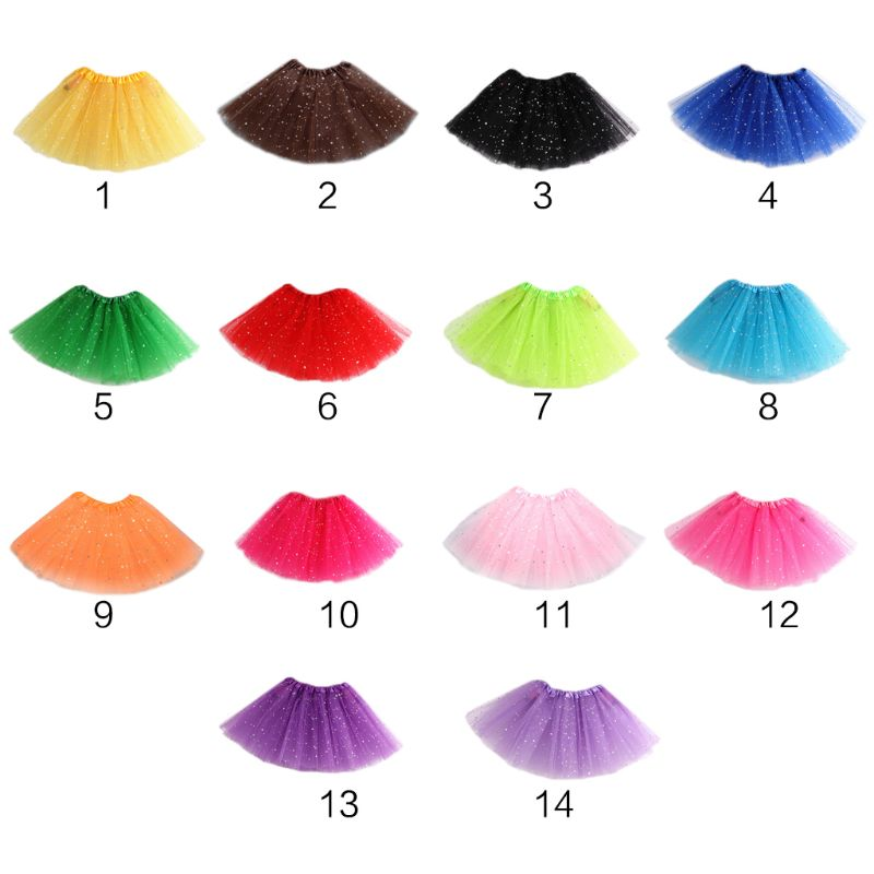 Girls Multi Layered Tutu Petticoat Solid Color Ballet Dance Costume Glitter Star Sequins Satin Elastic Waistband Underskirt HM