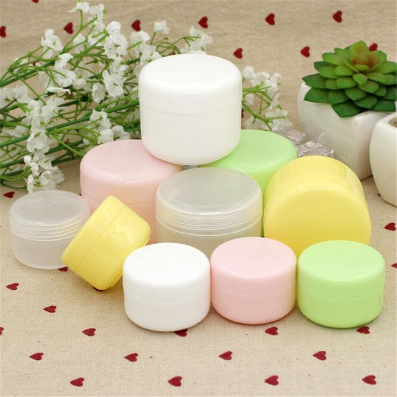 3PCS Travel Face Cream Lotion Cosmetic Container Refillable Bottles Plastic Empty Makeup Jar Pot 5 Colors 20/50/100g
