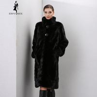 Winter Genuine Leather Furs Women Fur Coats Fashion Long Genuine Coat Mink Fur Coat Real Mink