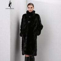 Зимние сапоги из натуральной кожи меха женщин Меховые пальто Модные Длинные подлинной пальто норки пальто с мехом реального норки пальто с