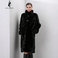 Winter Genuine Leather furs women fur coats Fashion long genuine coat mink fur coat real mink fur coat