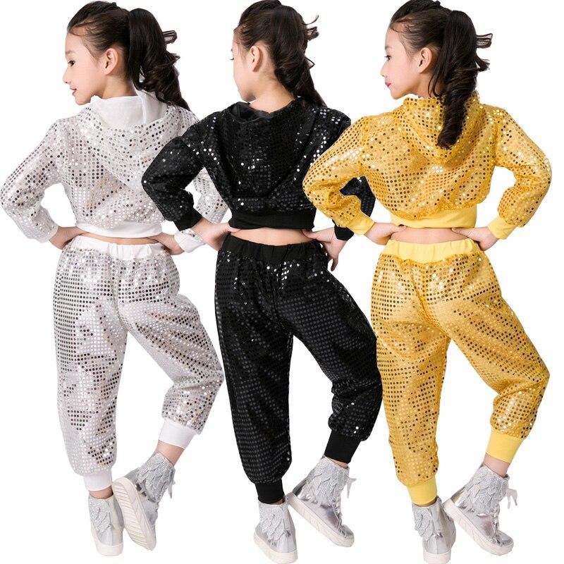 Aliexpress.com  Comprar Lentejuelas Salón danza jazz desgaste rendimiento  trajes de baile niños adolescentes hip hop Dancing stage Sudaderas Tops +  ... 9a8b560362a