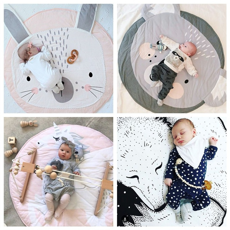цена на 90CM Baby Round Carpet Rugs Mat Kids Play Game Mats INS Cotton Unicorn Crawling Blanket Floor Carpet For Kids Room Decoration