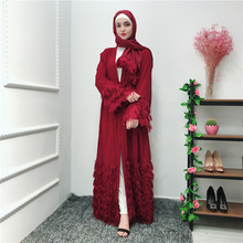 Muslim Jubah Kimono UAE Ramadan Arab Turkey Islamic Kaftan Worship Service Velvet Abaya Maxi Dress Nida Cardigan Long Robe Gowns