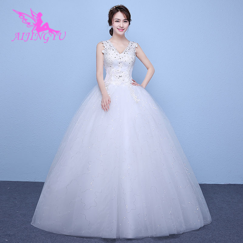 AIJINGYU 2018 bridal free shipping new hot selling cheap ball gown lace up back formal bride dresses wedding dress WK187