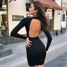 Streetwear Long Sleeve Bodycon Dress Women Turtleneck Backless Wrap Dress Ladies Black Pink Short Dress Open Back Autumn недорого