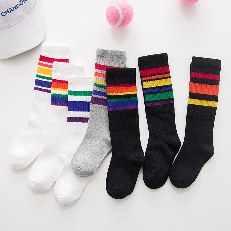 bbb85a692b9 10paris lot children s long sock striped rainbow knee high sock cotton  white black school socks for kids boys child girls 1-10T