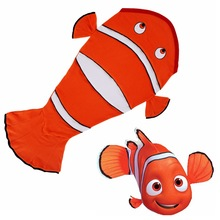 Kids Shark Mermaid Tail Clown Fish Fleece Blanket Snuggle in Sleeping Bag Fancy