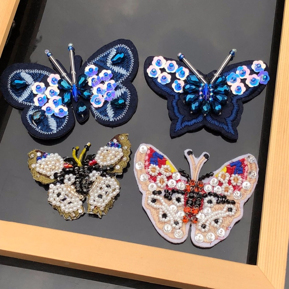 Butterfly Sequins Embroidered Patches Applique Fabric Sewing Embellishment