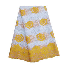 New arrival yellow african lace fabric embroidered stones milk silk french net tulle fabrics for aso ebi wedding dresses