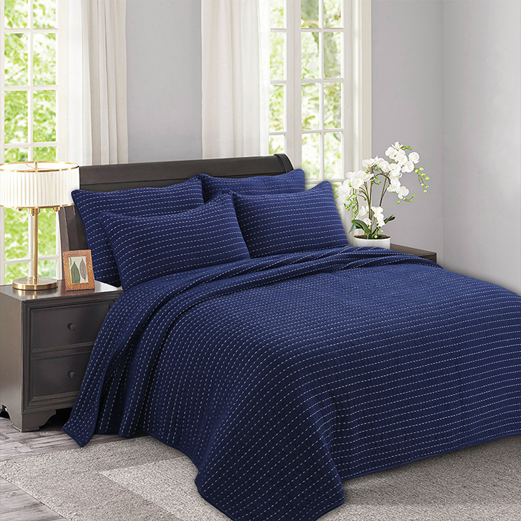 Navy Blue Thicken Bedspread Quilt Set 3pcs Embroidered Cotton Quilts Quilted Bed Cover Sheets Pillowcase King Size Coverlet Bedspread Aliexpress