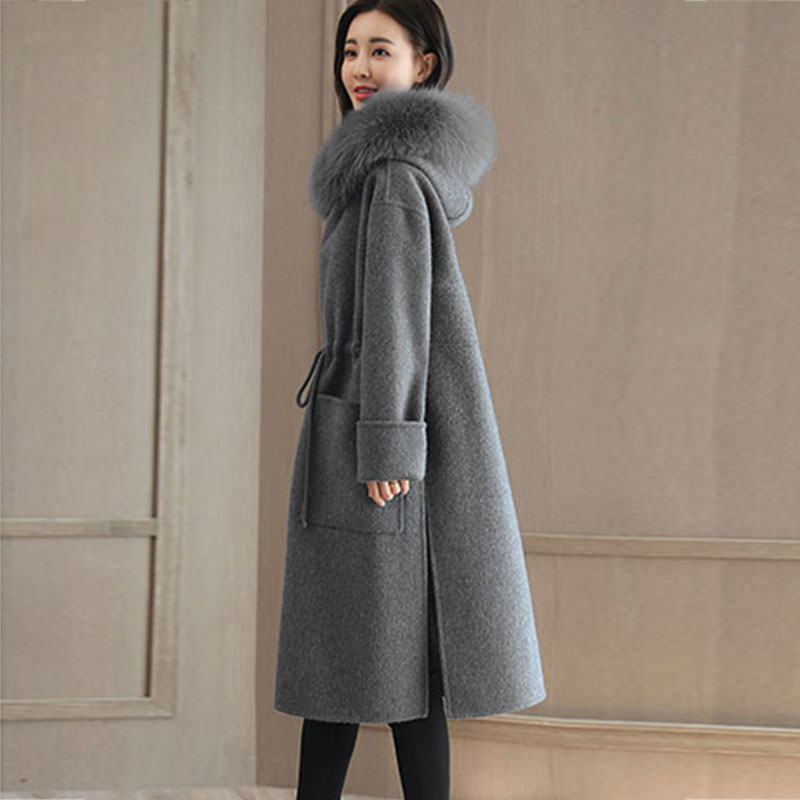 Cordon Femelle Femmes X848 D'hiver De Chaude Couleur Mince Mode À Capuchon Veste Laine Gray Manteau Pardessus Fourrure Solide blue Nouveau Col vxg4wqI7w