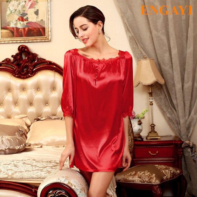 3 Colores 2017 Nueva Marca Vestido De Noche de Satén de Seda ropa de Dormir Camisón Sexy Bata de Encaje Batas Para Mujeres Camisón de Dormir SQ127