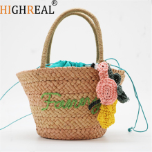HIGHREAL  Summer Style Beach Bag Women Straw Tassel Shoulder Bag Brand Designer Handbags High Quality Ladies Casual Travel Bags