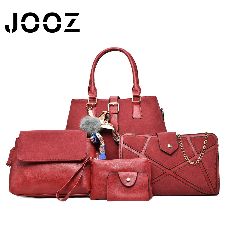 Jooz Luxury PU Leather Ladies Handbag 6 Pcs Composite Bags Set Female Shoulder Crossbody Messenger Women Bag Purse Clutch Wallet 6 pcs set women handbag scrawl composite bag stone women messenger bags shoulder bag purse wallet fashion pu leather handbags