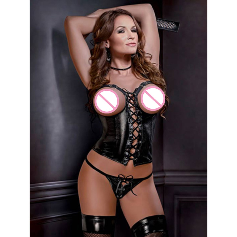 Plus Size Vinyl Leather Open Bust Corset Lingerie XXL Sexy  Back Buckle Lace Up Crop Top + G String Underwear Cupless Corselet