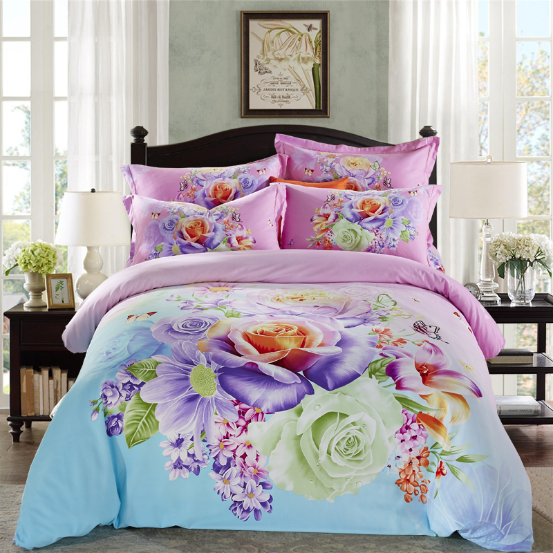 Bright colored flowers daisy rose bedding set queen king for Lit queen size taille