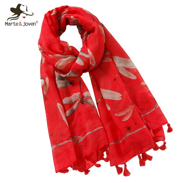 81f2ea223 Marte&Joven Elegant Dragonfly Printed Red Navy Blue Autumn Scarf for Women  Large Size Winter Warm Shawls Beautiful Ladies Hijab