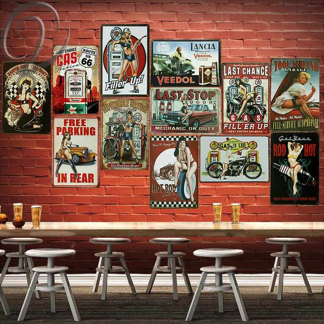 Us 624 48 Offmetal Tin Sign Last Stop Gas Hot Rod Car Vintage Signs Decor Retro Poster Garage Bar Coffee Pub Wall Decor In Plaques Signs From