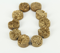 10pcs&20mm Sparkly Gold Titanium Druzy Stone Drilled Round Beads Necklace Bulk,Natural Stones Raw Drusy Slab Pendants Findings