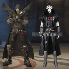 Reaper Gabriel Reyes Cosplay Costume Offense Hero Clothing Game Outfit Male Black Costume Cosplay Halloween Suit Adult Men