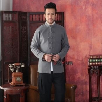 Free Shipping Gray Men's Chinese style Jacket Kung Fu Long sleeve Coat Solid Handsome Tang Suit Size S M L XL XXL XXXL фото