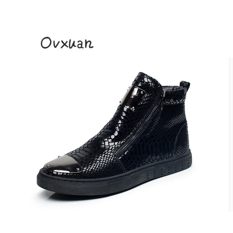 OVXUAN European United States Hip Hop High Sneakers Men Flats Sheet Metal Top Snake Pattern Leather Zipper Loafers Shoes For Men