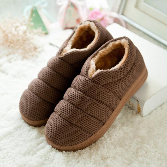 Nuevo Invierno antideslizantes Oruga de Algodón de Felpa Zapatillas de Casa Los Hombres \ Piso Espesan Los Niños Al Aire Libre de Interior Zapatillas Calientes Planas zapatos