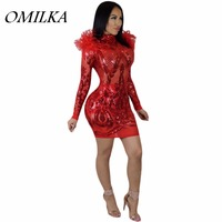 OMILKA 2017 Autumn Winter Women Long Sleeve Zipper Fur Sequin Bodycon Dress Sexy Black Red White