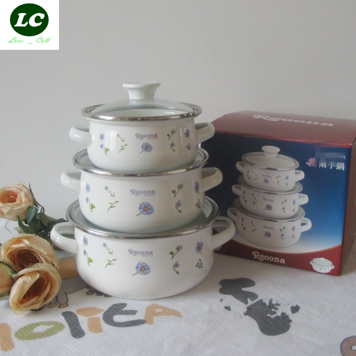 free shipping cooking tools enamel casserole 3 pots set mini kitchen utensil 1 2 litre